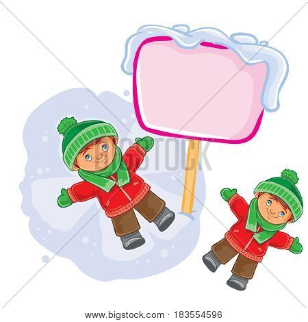 Vector winter illustration of a little boy lies on the snow and makes a snow angel. Speech bubble