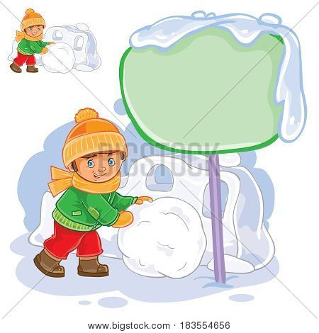 Vector winter illustration of a little boy rolling a snowball and building a snow fortress. Speech bubble