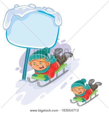 Vector winter illustration of a little boy is riding a sled. Speech bubble