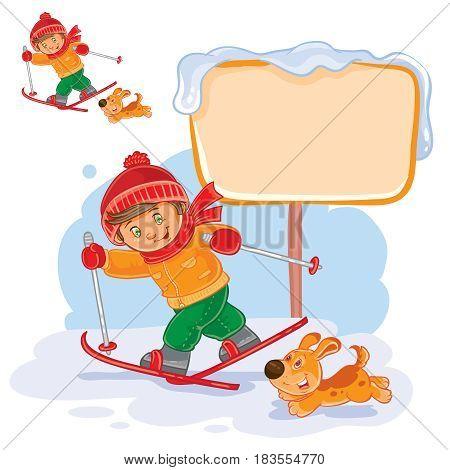 Vector winter illustration of a little boy skiing, next to him runs his dog. Speech bubble