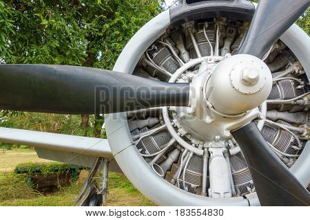 Rotor of a piston engined military trainer light attack aircraft since Vietnam War. This aircraft used by United States Air Force and United States Nany beginning in the 1950s. Some use as aerobatics.