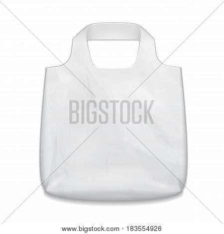 Textile Fabric Cotton Handbag Eco Plastic Bag Package White Grayscale. Illustration Isolated On White Background. Mock Up Template Ready For Your Design. Vector EPS10