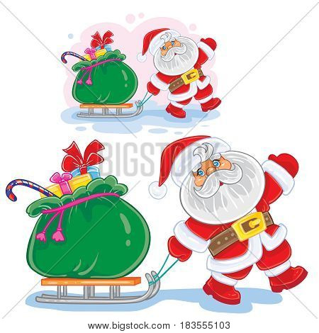 Vector winter Christmas, New Year illustration Santa Claus pulls a sleigh with a bag of gifts. Print, template for greeting cards, postage stamps