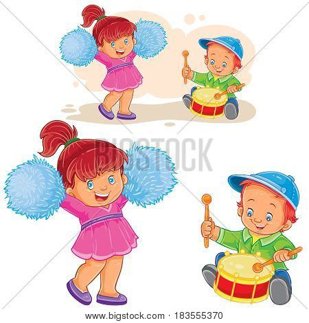 Vector illustration of a little boy knocking out a shot on the drum while a cheerful girl is dancing with pom-poms, a brother and sister are playing together. Print