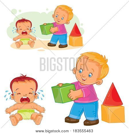 Vector illustration of a little baby crying while an older brother wants to comfort him and gives his cube. Print