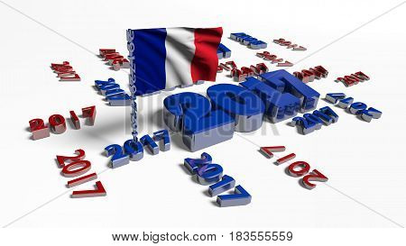 3D illustration of 2017 designs with French flag in the wind on a white background