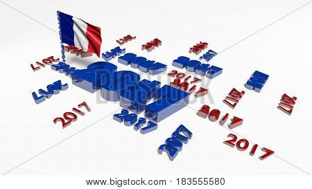 3D illustration of Many 2017 designs with French flag in the wind on a white background