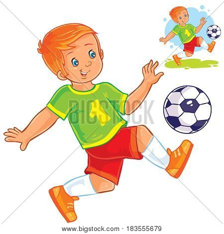 Vector illustration of little boy playing soccer.