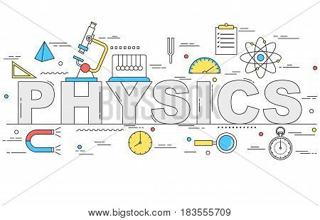 Physics line style illustration with different symbols