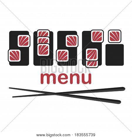 Sushi logo template design. Isolated on white background.  Vector illustration eps 10