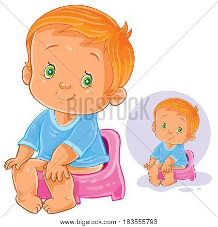 Vector illustration of a little baby sitting on a pot. Print