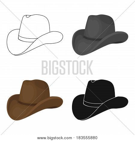 Cowboy hat icon in cartoon design isolated on white background. Rodeo symbol stock vector illustration.