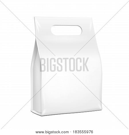 White Plastic, Foil Paper Food Bag Package Of Coffee, Spices Or Flour. Grayscale. Illustration Isolated On White Background Handle. Mock Up Template Ready For Your Design. Product Packing Vector EPS10
