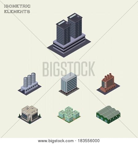 Isometric Architecture Set Of Warehouse, Tower, Office And Other Vector Objects. Also Includes Storage, Warehouse, Company Elements.