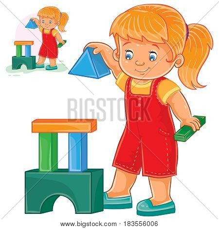 Vector illustration of a little girl building a tower of children s building blocks. Print