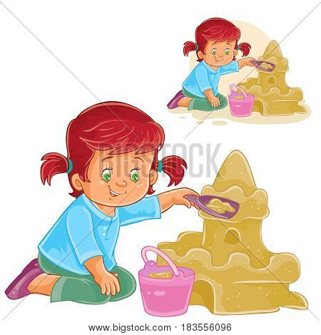 Vector illustration of a little girl using a plastic shovel and a bucket is building a sand castle. Print