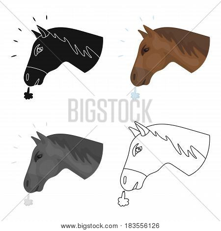 Horse's head icon in cartoon design isolated on white background. Rodeo symbol stock vector illustration.