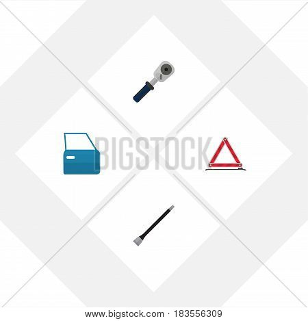 Flat Auto Set Of Warning, Automobile Part, Ratchet And Other Vector Objects. Also Includes Coupler, Car, Warning Elements.
