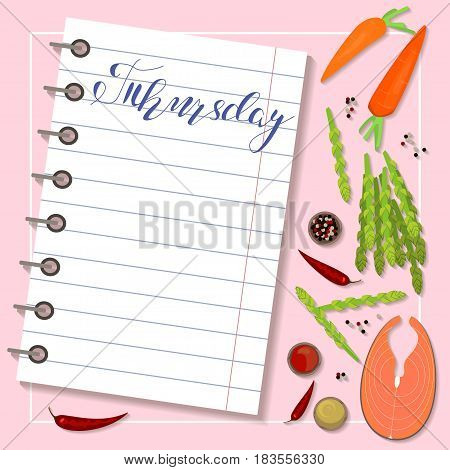 Fresh healthy food and sheet of diet plan for Thursday in flat design. Vector illustration eps 10