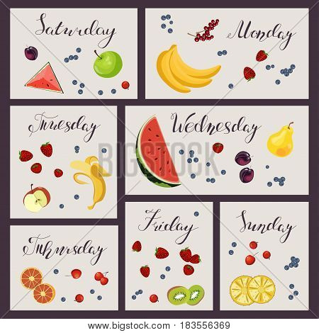 Fresh healthy food and sheet of diet plan for Sunday in flat design. Vector illustration eps 10