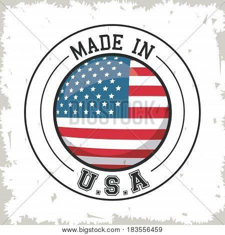 made in USA flag button design vector illustration