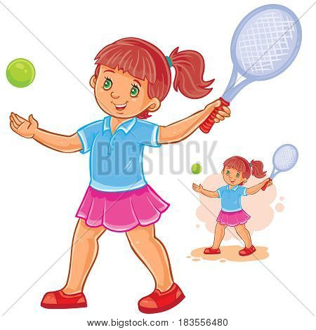 Vector illustration of little girl playing tennis, tennis player ready to hit the ball with a racket. Print