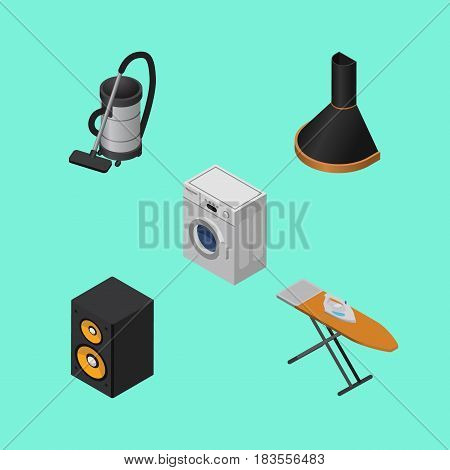 Isometric Technology Set Of Vac, Cloth Iron, Music Box And Other Vector Objects. Also Includes Vac, Hood, Ironing Elements.