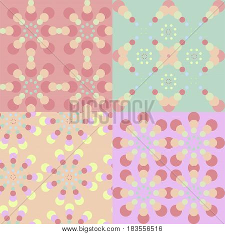 Set of abstract circles geometric seamless pattern. Vector illustration eps 10