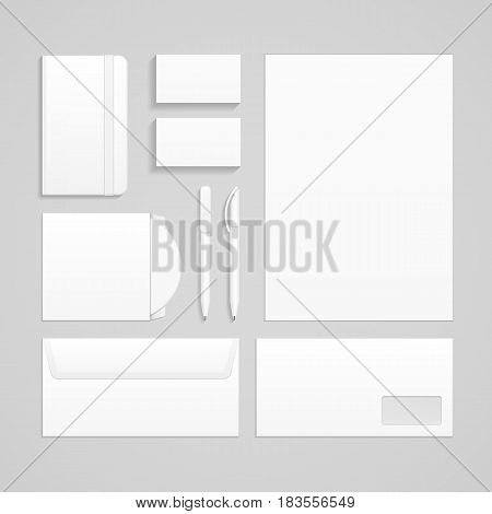 Set Of Corporate Identity And Branding Stationery Templates. Business card, Pen, CD, DVD, Envelope, Notebook. Illustration Isolated On Gray Background. Mock Up. Vector illustration