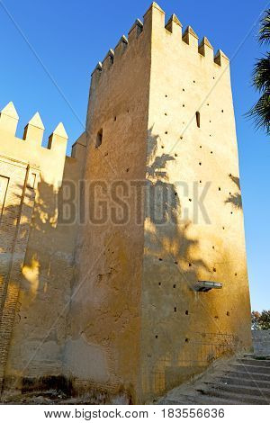 Old Ruin In     Brown Construction  Africa   Morocco And Sky  Near The Tower