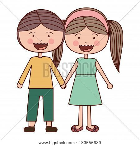 color silhouette smile expression cartoon guy and girl pigtails hairstyle with taken hands