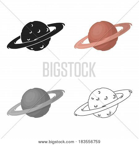 Saturn icon in cartoon style isolated on white background. Space symbol vector illustration.