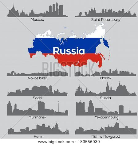 Russia cities detailed vector skylines wirh map and flag