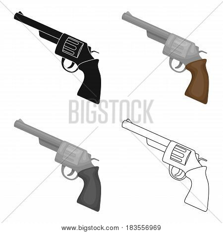 Revolver icon in cartoon design isolated on white background. Rodeo symbol stock vector illustration.