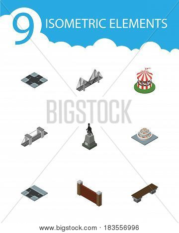 Isometric Urban Set Of Bench, Barrier, Sculpture And Other Vector Objects. Also Includes Carousel, Statue, Park Elements.