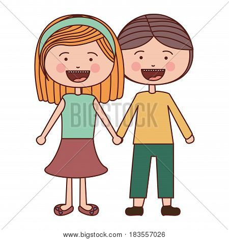 color silhouette smile expression cartoon couple in suit informal with taken hands vector illustration