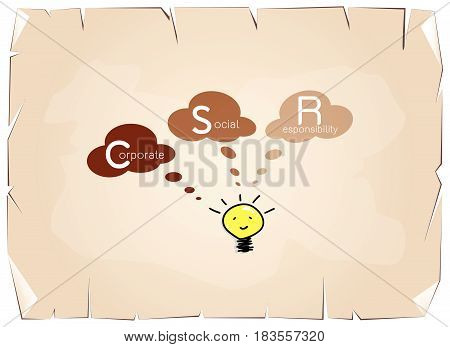 Business Concepts, Glowing Yellow Electric Light Bulb Smiling As Inspiration Concept with CSR Abbreviation or Corporate Social Responsibility on Old Antique Vintage Grunge Paper Texture Background.