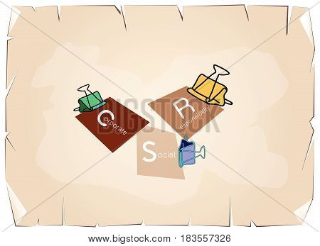 Business Concepts, Binder Clips with CSR Abbreviation or Corporate Social Responsibility Achieve Notes on Old Antique Vintage Grunge Paper Texture Background.