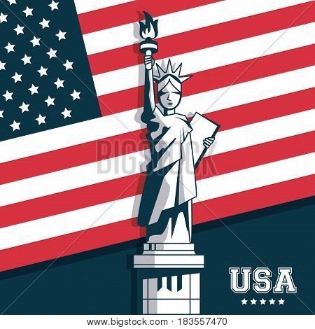 statue of liberty united states USA flag emblem vector illustration