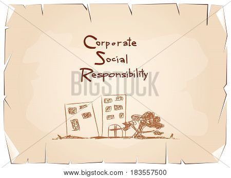 Business Concepts, Green Paper with CSR Abbreviation or Corporate Social Responsibility Achieve Notes on Old Antique Vintage Grunge Paper Texture Background.