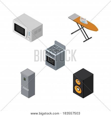 Isometric Appliance Set Of Microwave, Stove, Kitchen Fridge And Other Vector Objects. Also Includes Stove, Cloth, Box Elements.