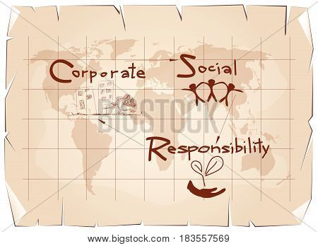 Business Concepts, World Environment with CSR Abbreviation or Corporate Social Responsibility Achieve Notes on Old Antique Vintage Grunge Paper Texture Background.