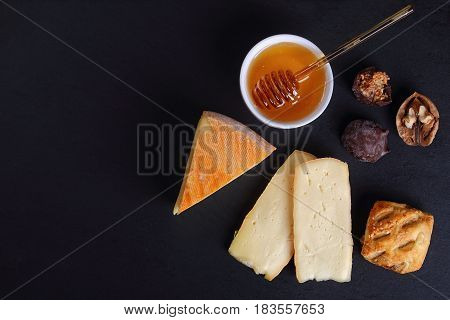 French Saint-nectaire Cheese On Slate Plate