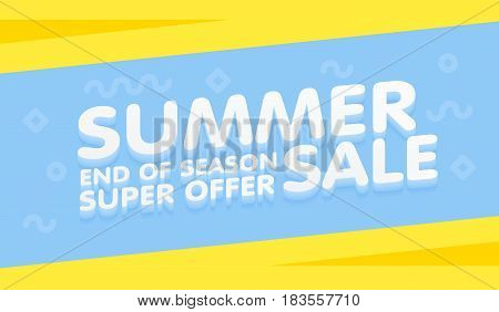 Summer Sale Yellow And Blue Banner Vector Illustration