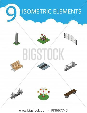Isometric Street Set Of Bridge, Seesaw, Barricade And Other Vector Objects. Also Includes Path, Barricade, Bridge Elements.