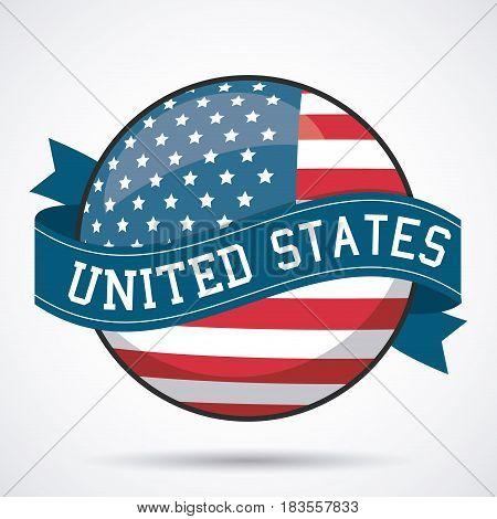 USA flag ribbon button decoration design vector illustration