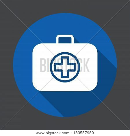 First aid kit medical bag flat icon. Round colorful button circular vector sign with long shadow effect. Flat style design