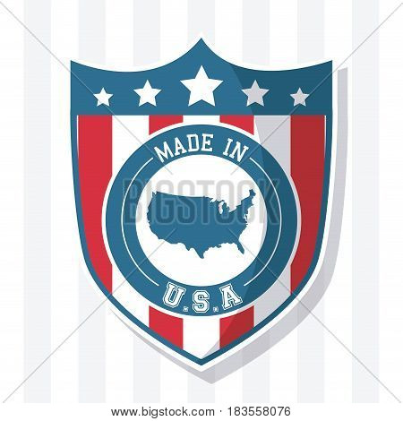 made in USA flag shield map national image vector illustration
