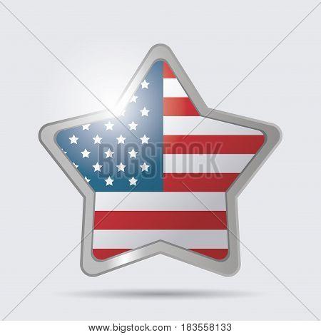 star USA flag glossy symbol emblem image vector illustration