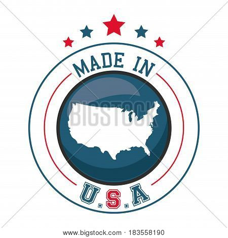 made in USA map badge image vector illustration